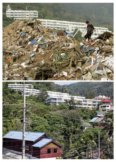 In this combo picture, a Thai woman is seen collecting items from the aftermath of the tsunami disaster in Patong Beach on the Thai resort island of Phuket January 1, 2005 (top) and the same site nearly five years after, December 10, 2009. As the world prepares to mark the fifth anniversary of the tsunami that killed 226,000 people in 13 Asian and African countries, scars have yet to heal even after homes have been rebuilt, tourists have returned and foreign aid has ended. (REUTERS/Adrees Latif (top) and Damir Sagolj)