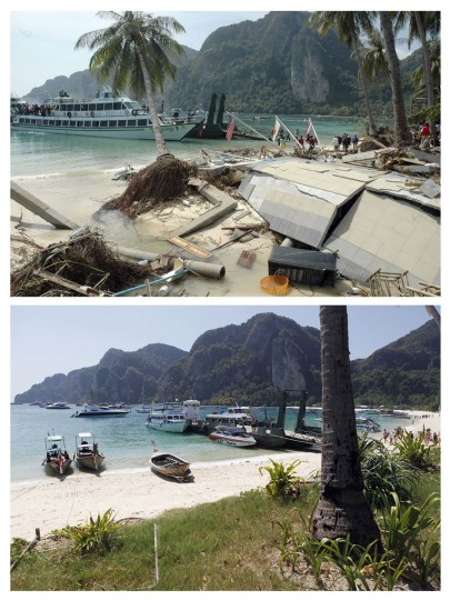 In this combo picture, tourists are seen at a pier as they wait to be evacuated from the Phi Phi Islands, southern Thailand, December 27, 2004 after a tsunami swept through this famous tourist resort (top) and the same pier nearly five years after, December 11, 2009. As the world prepares to mark the fifth anniversary of the tsunami that killed 226,000 people in 13 Asian and African countries, scars have yet to heal even after homes have been rebuilt, tourists have returned and foreign aid has ended. (REUTERS/Stringer (top) and Damir Sagolj)