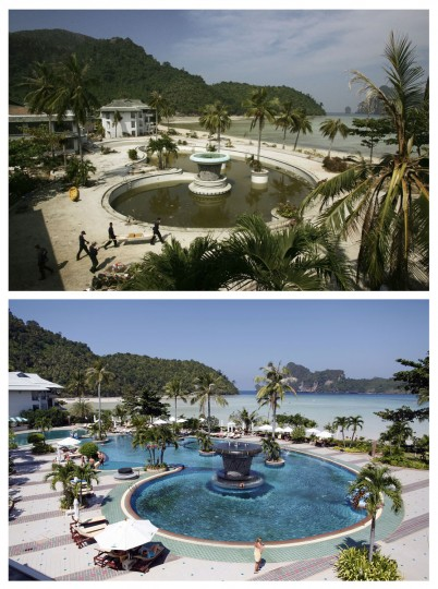 In this combo picture, a hotel in Thailand's Phi Phi island is seen after the tsunami January 3, 2005 (top) and the same hotel with tourist enjoying their holidays nearly five years after, December 11, 2009. As the world prepares to mark the fifth anniversary of the tsunami that killed 226,000 people in 13 Asian and African countries, scars have yet to heal even after homes have been rebuilt, tourists have returned and foreign aid has ended. (REUTERS/Kin Cheung (top) and Damir Sagolj)