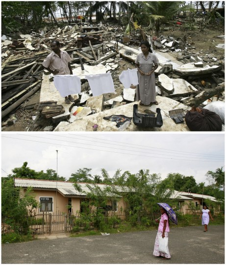 A combination photo shows (top) Sumith Lalantha (L) who lost his three sisters, and his wife Sriyani, standing January 2, 2005, in the ruins of their house in Kathaluwa which was devastated by the 2004 tsunami, and (bottom) a family walking past new homes at a development in Kathaluwa, built for families who lost homes in the 2004 tsunami, November 29, 2009. (REUTERS/Yves Herman/Andrew Caballero-Reynolds)