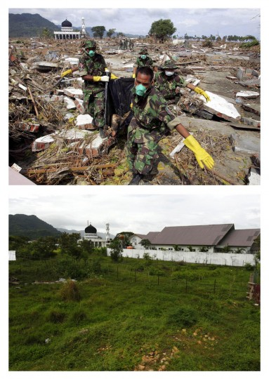 A combination photo shows (top) Indonesian soldiers removing the body of a 2004 tsunami victim near a mosque in Banda Aceh, on the northern part of the Indonesian island of Sumatra January 2, 2005, and (bottom), a view of the same area, December 5, 2009. (REUTERS/Beawiharta)