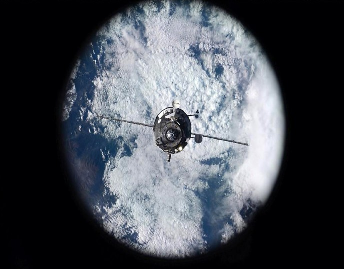On October 29, Wiseman noted that a new guest had arrived at the station, as Progress 57P was viewed out the window on the station right before docking. The craft will be resupplying the ISS. (Reid Wiseman/NASA)