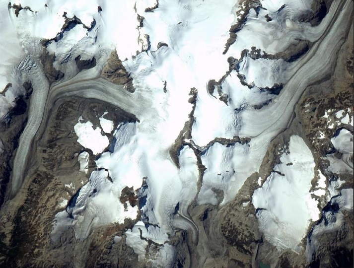 Glacial flows through British Columbia, Canada taken on September 3. (Reid Wiseman/NASA)