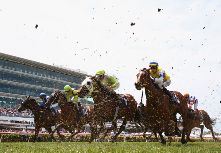 The field cross the line in race two the SecondBite Plate on Stakes Day at Flemington Racecourse in Melbourne, Australia. (Robert Cianflone/Getty Images)