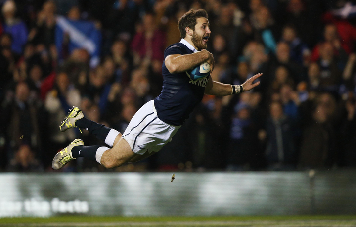 Scotland's Tommy Seymour scores a try against Argentina during their Autumn International rugby union match at the Murrayfield Stadium in Edinburgh, Scotland. (Russell Cheyne/Reuters)