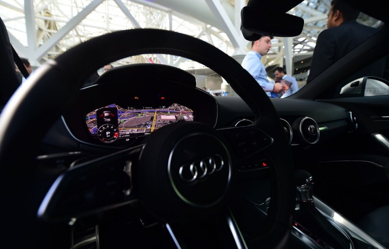 An interior view from the driver's seat of a 2015 Audi TTS equipped with Nvidia Technology on dispay at the Connected Car Expo on the opening press and trade day at the LA Auto Show in Los Angeles, California on November 18, 2014. Nearly 60 North American and World vehicle debuts will be unveiled at this years auto show which opens to the public from November 21 to 30. (Frederic J. Brown/AFP/Getty Images)