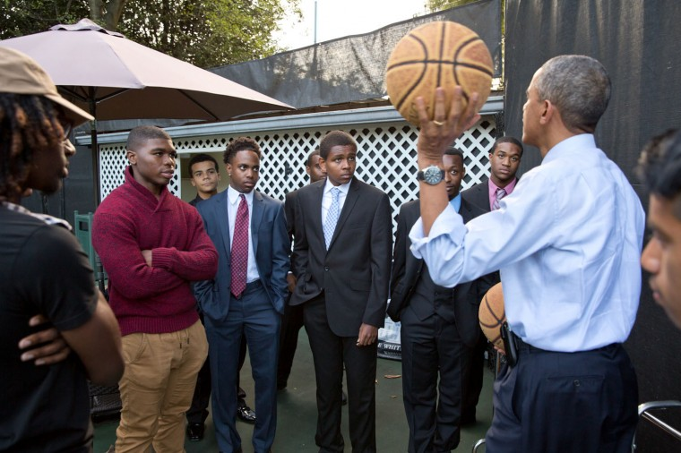"Oct. 14, 2014 ""The President was meeting with a group of mentees in the Roosevelt Room of the White House. As the meeting was coming to a close one of the participants challenged the President to a game of HORSE. 'Let's go,' the President responded, and the entire group walked down to the basketball court on the South Lawn. In addition to the shooting competition, the President also used the opportunity to further talk to the young men about life lessons, not basketball."" (Official White House Photo by Pete Souza)"
