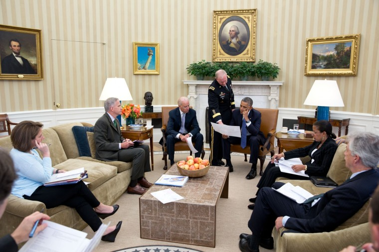 "June 13, 2014 ""Every morning the President convenes the 'Presidential Daily Briefing.' When world events dictate, aides that normally do not attend this meeting are called in to participate in the briefing. Here, Gen. Martin Dempsey, Chairman of the Joint Chiefs, briefs the President and his team on the situation in Iraq."" (Official White House Photo by Pete Souza)"