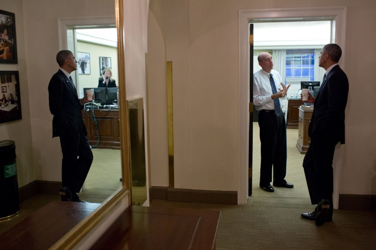 "Nov. 19, 2014 ""A lot of business is done during informal meetings and conversations, often away from the Oval Office. Here, the President ventured upstairs to the second floor of the West Wing to talk with Neil Eggleston, Counsel to the President, outside his office."" (Official White House Photo by Pete Souza)"