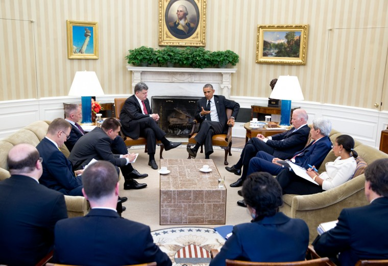 "Sept. 18, 2014 ""Given how much of the President's time was occupied with Ukraine this year, I thought it was important to show the President meeting with President Petro Poroshenko of Ukraine in the Oval Office."" (Official White House Photo by Pete Souza)"