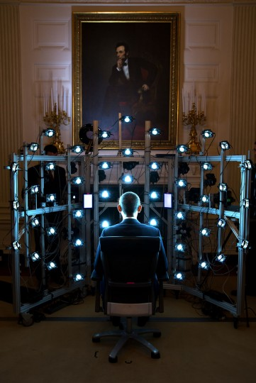 "June 9, 2014 ""The President sits for a 3D portrait being produced by the Smithsonian Institution. There were so many cameras and strobe lights flashing but the end result was kind of cool. See the video at this link: http://1.usa.gov/1zhPtAf."" (Official White House Photo by Pete Souza)"