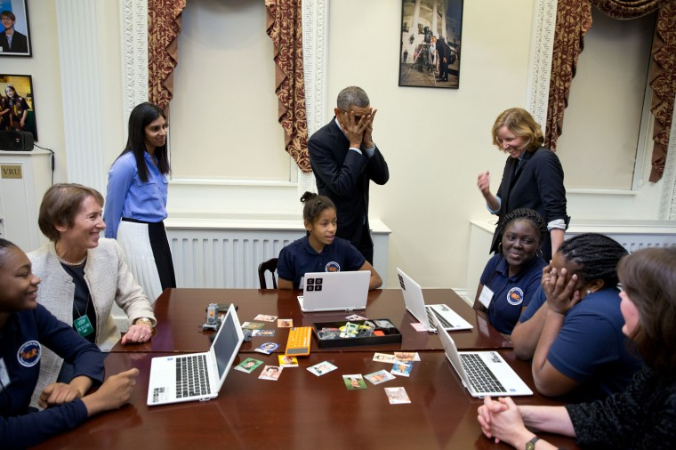 "Dec. 8, 2014 ""The President mimics a middle-school student overcome with emotion at meeting him during an 'Hour of Code' event to honor Computer Science Education Week at the Eisenhower Executive Office Building."" Official White House Photo by Pete Souza)"