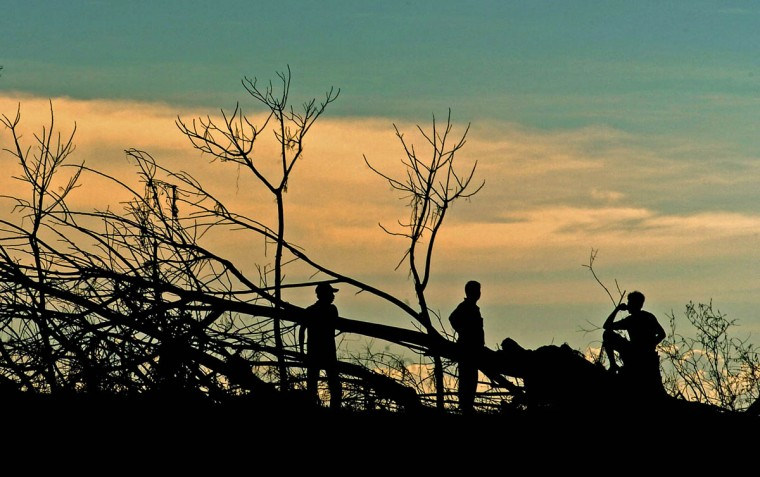 Foliage stripped barren by the tsunami expose residents who survey the extensive damage at sunset Tuesday, Jan. 18, 2005 following a tsunami that swept through the town in December. (Karl Merton Ferron, Baltimore Sun)