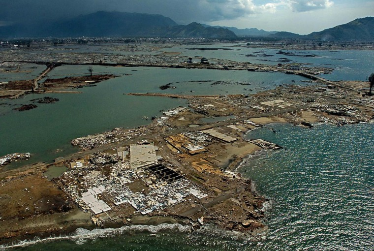 Aerial photo of Banda Aceh, revealing the scope of devastation Tuesday, Jan. 18, 2005 following a tsunami that swept through the town in December in a view looking inland from the Indian Ocean, where the wall of water struck. (Karl Merton Ferron, Baltimore Sun)