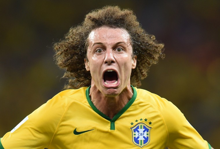 Brazil's defender David Luiz celebrates scoring during the quarter-final football match between Brazil and Colombia at the Castelao Stadium in Fortaleza during the 2014 FIFA World Cup on July 4, 2014. VANDERLEI ALMEIDA/AFP/Getty Images