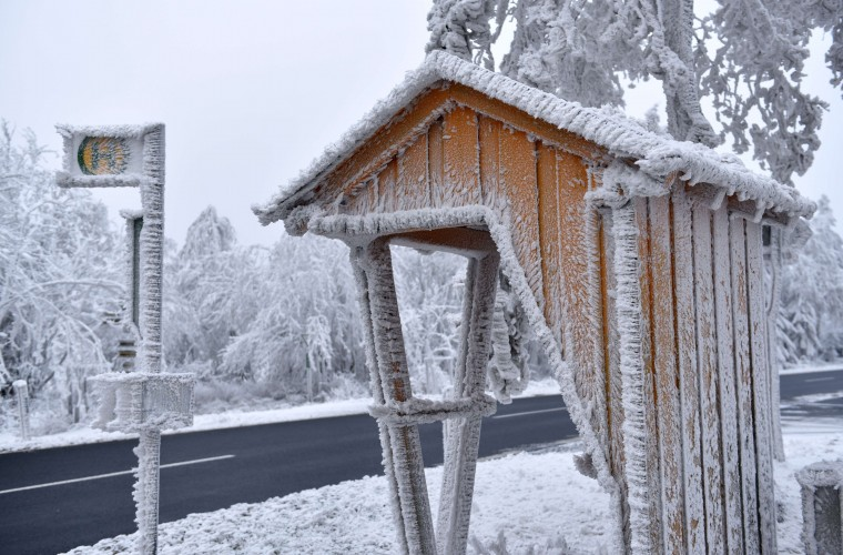 A bus stop is covered in snow and ice on the 750 meters high Hoher Meissner mountain near Hessisch Lichtenau, central Germany, on December 2, 2014. (Uwe Zucchi/AFP/Getty Images)