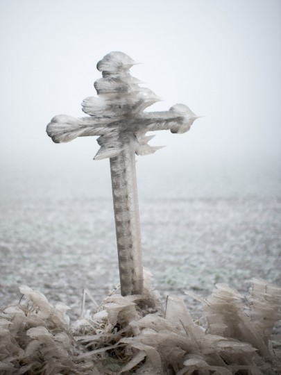 A wayside cross is covered with frost near Kottes in Lower Austria, on December 3, 2014. (Christian Bruna/AFP/Getty Images)