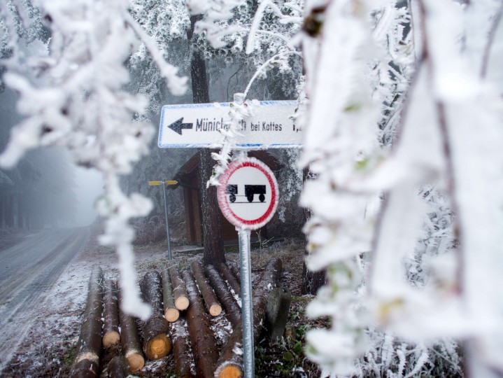 A road sign is covered with frost near Kottes in Lower Austria, on December 3, 2014. (Christian Bruna/AFP/Getty Images)