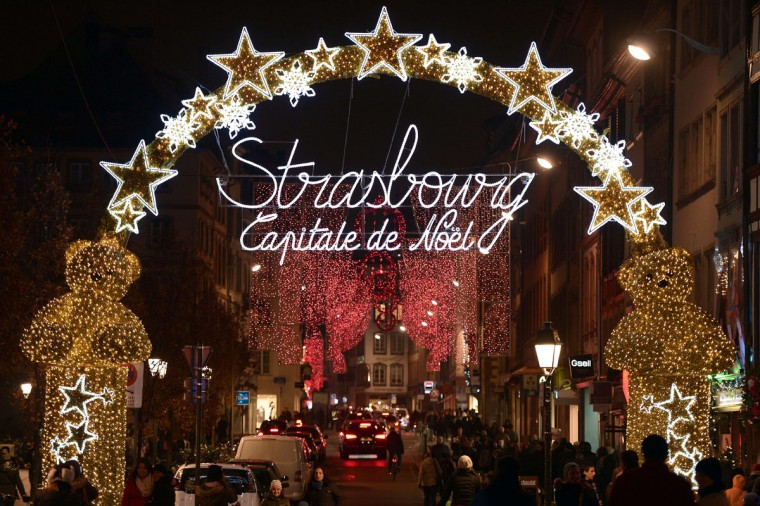Christmas lights decorate streets in Strasbourg, eastern France, on November 28, 2014 on the opening day of the city's Christmas market, the largest and one of the oldest French Christmas markets. With over 300 market chalets, Strasbourg attracts over two million visitors during the Christmas season. (Frederick Florin/AFP/Getty Images)