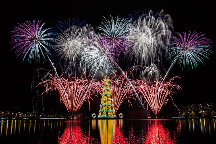 View of fireworks during the inauguration of an 85-meter-high floating Christmas tree at Rodrigo de Freitas lagoon in Rio de Janeiro, Brazil, on November 29, 2014. The world highest floating Christmas tree registered by the Guinness World Records was inaugurated for its 19th time Saturday night and will be illuminated by 3.1 million lights every night until the end of the year. (Yasu Yoshi Chiba/AFP/Getty Images)