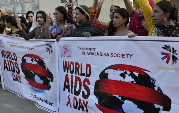 Pakistani transgender activists from the Khawaja Sira Society take part of a rally to mark World AIDS Day in Lahore on December 1, 2014. World AIDS Day is marked annually on December 1 to raise awareness of the illness. (Arif Ali/AFP/Getty Images)