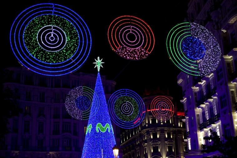 Christmas lights illuminate Monteras street near Gran Via in the centre of Madrid on December 1, 2014. (Sebastien Berda/AFP/Getty Images)
