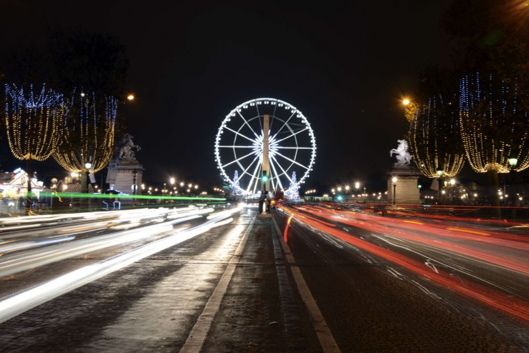 The 60 meter tall ferris wheel of the Concorde square is pictured on December 4, 2014, on the Champs-Elysees avenue decorated with Christmas lights. (Dominique Faget/AFP/Getty Images)