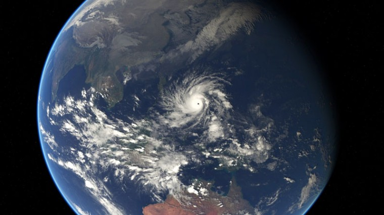 This handout photo released and taken by EUMETSAT on December 5, 2014 shows a satellite image of Typhoon Hagupit in the Western Pacific Ocean. Thousands of people in the Philippines sought shelter in churches, schools and other makeshift evacuation centers on December 5 as monster Typhoon Hagupit bore down on the disaster-weary nation. (EUMETSAT 2014-/AFP/Getty Images)