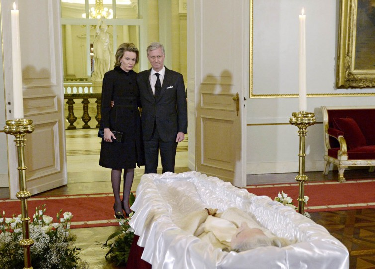Queen Mathilde and King Philippe of Belgium pay their respects as they view the body of late Queen Fabiola de Mora y Aragon lying in state at the Royal Palace in Brussels. Queen Fabiola de Mora y Aragon, widow of Belgian King Baudouin, passed away on December 5 at the age of 86. The funeral will take place in Brussels on December 12. (Didier Lebrun/Getty Images)