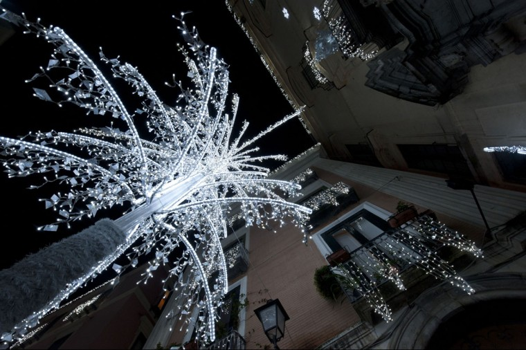 "A picture shows Christmas lights during the ""Luci d'Artista"" (Artist's Lights of Salerno) event on December 17, 2014 in Salerno, southern Italy. The theme for the 2014-2015 event is the Northern Lights and Fairy Tales. (Mario Laporta/AFP/Getty Images)"