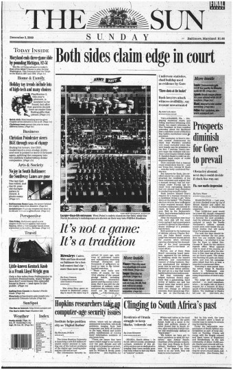 Coverage of the 2000 Army-Navy game in The Baltimore Sun.