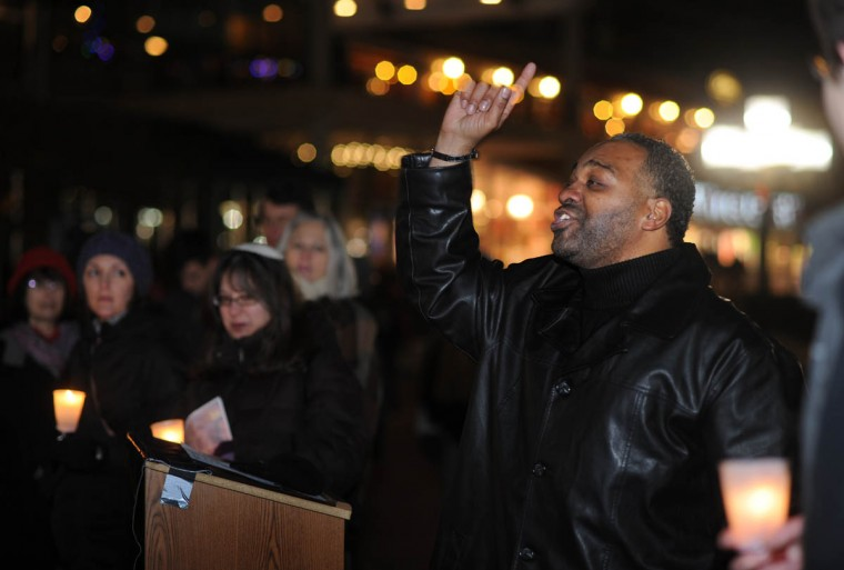Several members of religious groups and organizations for the poor spoke to attendees at the homeless memorial, including Apostle Richard White, Jr. with Full Destiny International Ministries. (Algerina Perna/Baltimore Sun)