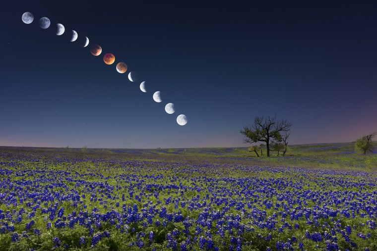 Texas-based photographer Mike Mezeul spent 7 hours in a field outside of Dallas, Texas to take this unconventional shot of the lunar eclipse Tuesday night. Here's a look at how he did it.