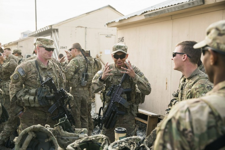 U.S. soldiers from the 3rd Cavalry Regiment prepare for a mission at Forward Operating Base Fenty in the Nangarhar province of Afghanistan December 20, 2014.