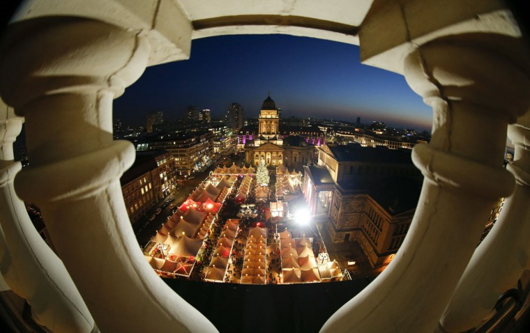 A general view shows the illuminated Christmas market at Gendarmenmarkt square in Berlin, December 9, 2014. (Fabrizio Bensch/Reuters)