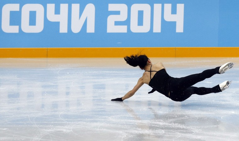 The Sochi Olympics happened and with that, people fell, tripped, slid and tumbled on ice. We compiled a few of the best. Here, Japan's Akiko Suzuki falls during a figure skating training session. (Alexander Demianchuk/REUTERS)