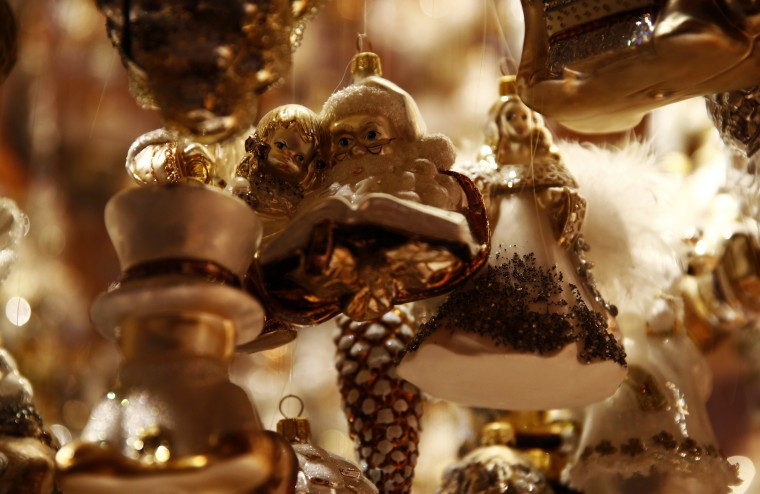 Glass decorations are displayed at the Silverado manufacture of hand-blown Christmas ornaments in the town of Jozefow outside Warsaw December 2, 2014. REUTERS/Kacper Pempel