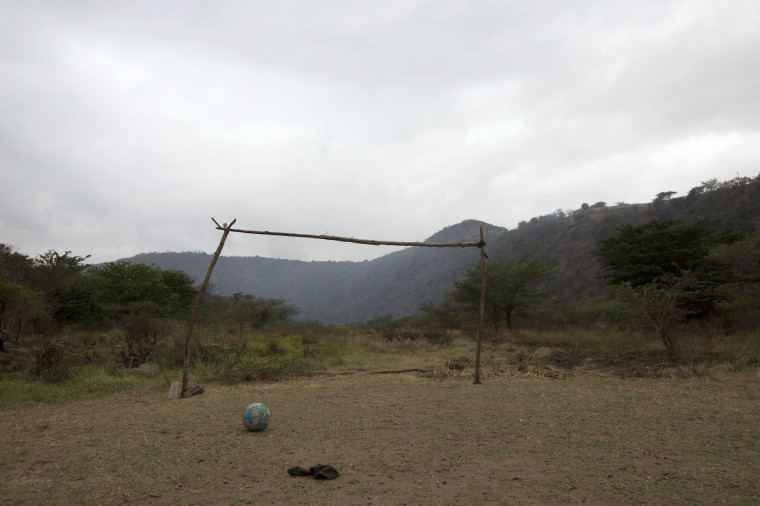 A makeshift soccer goalpost stands near Molweni, west of Durban, in this June 5, 2014 file photo. REUTERS/Rogan Ward