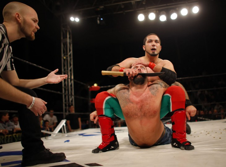 Hungarian wrestlers fight during the Hungarian wrestling Championship in Budapest in this November 29, 2014 file photo. REUTERS/Laszlo Balogh/Files