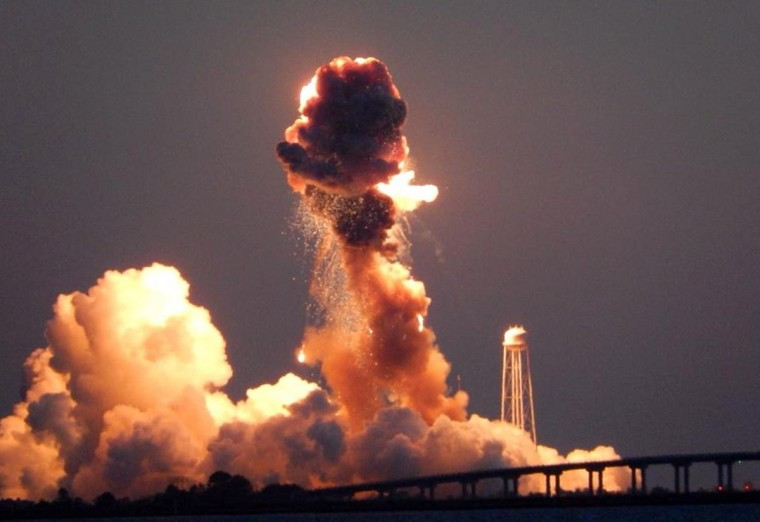The Orbital Sciences Corp.'s Antares rocket and Cygnus cargo spacecraft exploded after launch at Wallops Island, VA at 6:22 p.m. ET on Oct. 29. It was set to carry some 5,000 pounds of supplies and experiments to the International Space Station. (Eduardo Encina, Baltimore Sun)