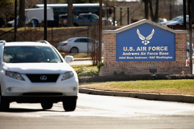 Vehicle traffic goes in and out of the U.S. Air Force Joint Base Andrews in Prince Georges County December 17, 2014 in Joint Base Andrews, United States. U.S. Agency for International Development contractor Alan Gross, who has been in prison in Cuba for the last five years on espionage charges, has been released and is due to arrive at the base, possibly heralding a new era in U.S.-Cuba relations. American officials have said they will restore full diplomatic relations with Cuba and open an embassy in Havana for the first time in more than a half-century. (Photo by Chip Somodevilla/Getty Images)