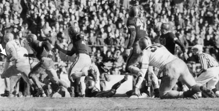 Army's Dale Hall scores against Navy in the second half at Baltimore Stadium in 1944. (UM Libraries, Special Collections, News American Photo)