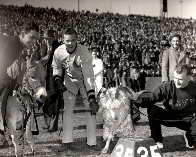 The Navy Goat and the Army Donkey meet at Baltimore Stadium on Dec. 2, 1944. (Baltimore Sun file photo)