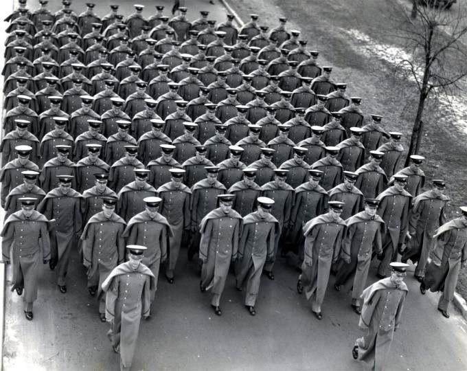 The Cadets march into Baltimore Stadium, leaving Federal Street on Edison Highway. (Baltimore Sun file photo)