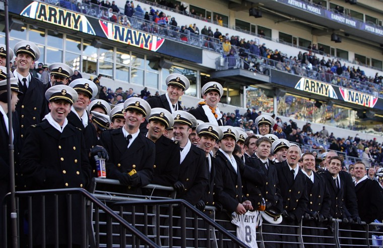 Members of the Naval Academy look on prior to the 108th Army-Navy football game on December 1, 2007 at M&T Bank Stadium. (Photo by Jim McIsaac/Getty Images)