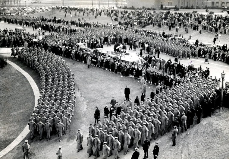 Army Cadets march into Baltimore Stadium before the 1944 Army-Navy game. (Baltimore Sun file photo)