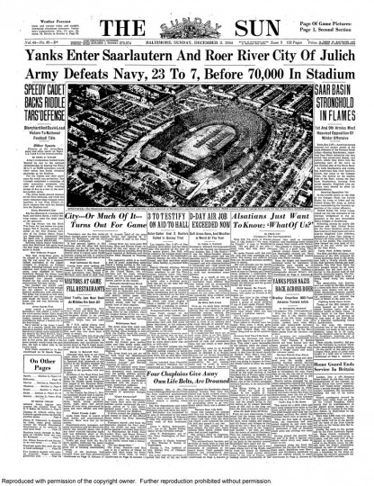 Sun coverage of the Army-Navy game.