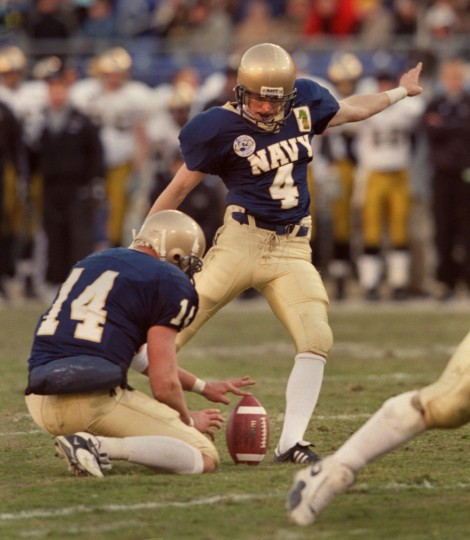 Navy's David Hills attempts a kick against Army on Dec. 2, 2000 at PSINet Stadium. (Baltimore Sun photo by Gene Sweeney Jr.)