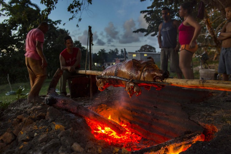 "Several members of the Rodriguez Osorio family stand next to a slow roasted pig that is being cooked over a charcoal fire for the New Yearís Eve dinner, at sunset in Campo Florido, east of Havana, Cuba, Wednesday, Dec. 31, 2014. The dish known as ""Cerdo en Pua"" or pig on a stick, is a New Yearís Eve tradition and delicacy that most Cuban families enjoy during the last night of the year. (Ramon Espinosa/AP photo)"