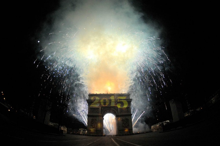 A general view of the Arc de Triomphe during the New Year's Celebration on the Champs-Elysees on December 31, 2014 in Paris, France. (Aurelien Meunier/Getty Images)
